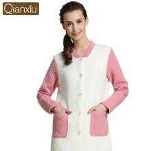 Autumn Winter Nightgown Women Casual Nightdress Polar Fleece sleepshirts long sleepwear cardigan nightdress 15601
