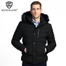 SCOTCH CCWZ Brand RU/EU size Fashion Thick Warm Winter Jacket Men Parkas 2017 Windproof Jackets And Coats For Men Clothing 7175