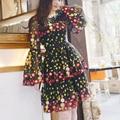 korean mesh dress 2017 summer fashion casual embroidery dress Slim flower dresses women vestido