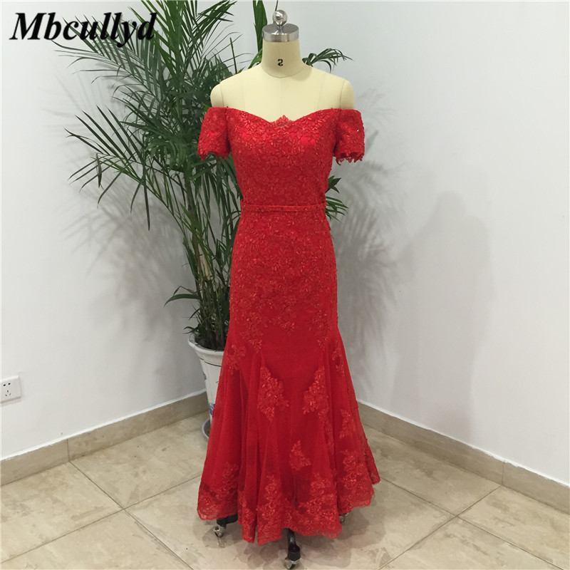 Mbcullyd Ruffles Off Shoulder Bridesmaid Dresses Sexy Sweetheart Long Floor Length Formal Red Lace Party Dress For Wedding