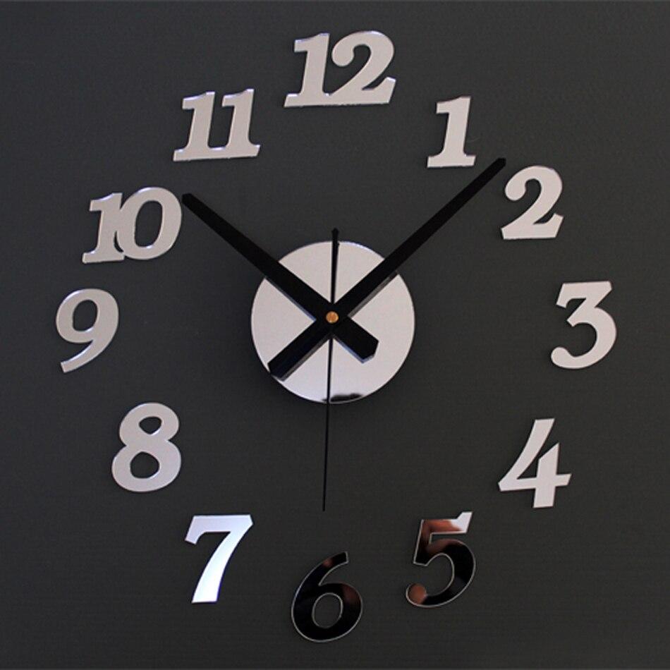 Arabic Numerals Creative Antique DIY Self Adhesive Acrylic Living Room Wall Clock Quartz 3D Digital Home Decor Retro Art Watch in Wall Clocks from Home Garden