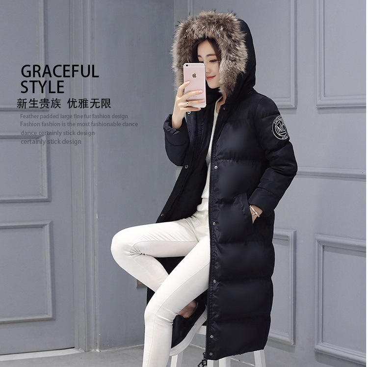 Ms hooded heavy hair collar not pick thermal comfort add long coat of cultivate one's morality