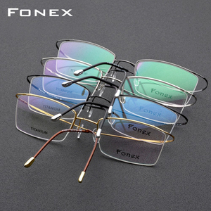 Image 5 - FONEX ไทเทเนียมกรอบแว่นตาผู้ชายชายแว่นตาผู้หญิงสายตาสั้นกรอบแว่นตาไร้สาย
