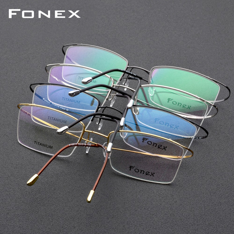 Image 5 - Titanium Alloy Glasses Frame Men Ultralight Male Prescription Eyeglasses Women Half Rim Myopia Optical Frame Screwless Eyewear-in Men's Eyewear Frames from Apparel Accessories