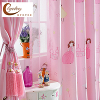 Custom Children Curtain Cartoon Princess Pink Girls Room Curtains Bedroom Window Screen Curtain Shade Cloth Finished