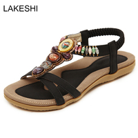 New Bohemian Beaded Sandals Women Flats Shoes Plus Size Fashion Casual Summer Beach Sandals Female