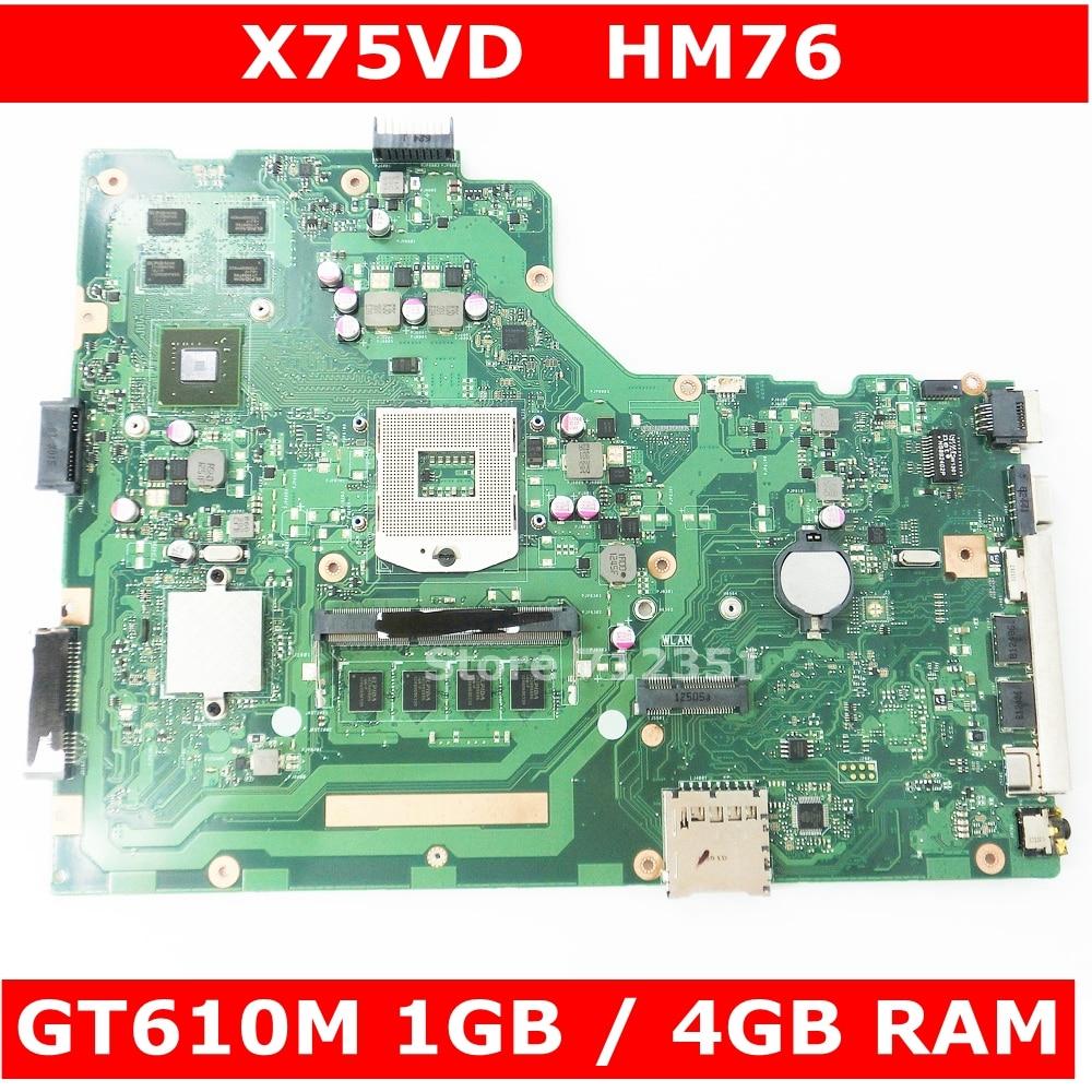 X75VD GT610M 1GB 4GB RAM Mainboard REV 2.0 Para ASUS X75V X75VC X75VB X75VD R704V Laptop motherboard 100% testado frete grátis