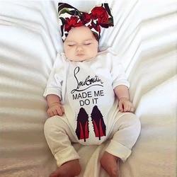 Забавная Осенняя хлопковая одежда для новорожденных мальчиков и девочек 2018 года, обувь на высоком каблуке, комбинезон с принтом, одежда для ...