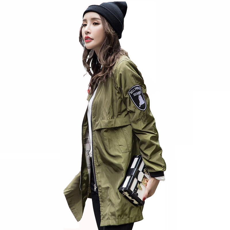 Bomber da donna casual autunno verde militare Army Harajuku Straight In The Long Slim giacca a vento cappotto Cappotto Outwear