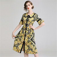 High end2019 new ladies temperament lace waist long section large print dress loose comfortable retro palace aristocratic dress