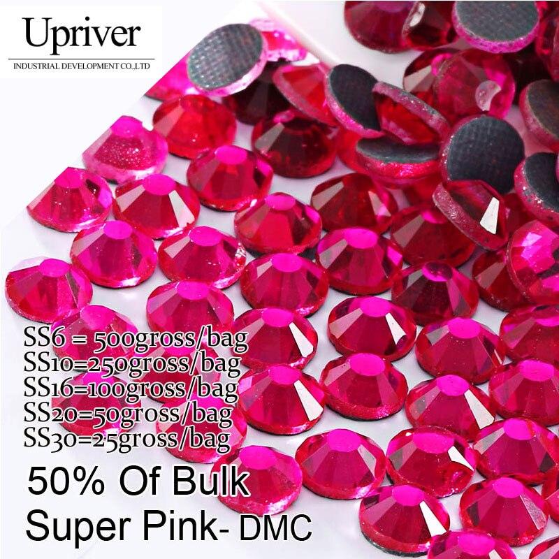 Bulk Packing  Shiny Stones Flatback Best Quality SS6 SS10 SS16 SS20 SS30 Super Pink Hotfix Rhinestones