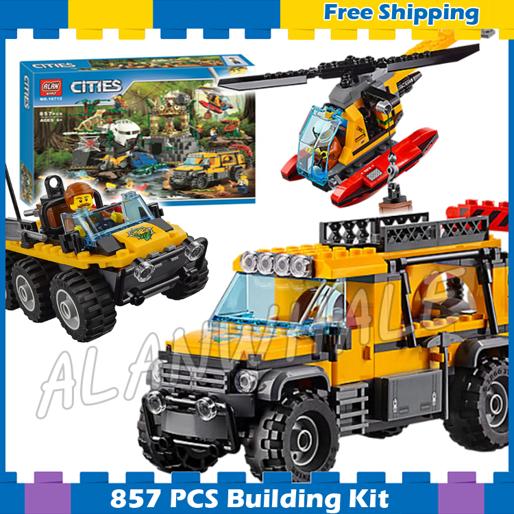 857pcs City Jungle Explorers Exploration Site Wild Animals 39065 Model Building Blocks Assemble Gifts sets Compatible With Lego mr froger carcharodon megalodon model giant tooth shark sphyrna aquatic creatures wild animals zoo modeling plastic sea lift toy