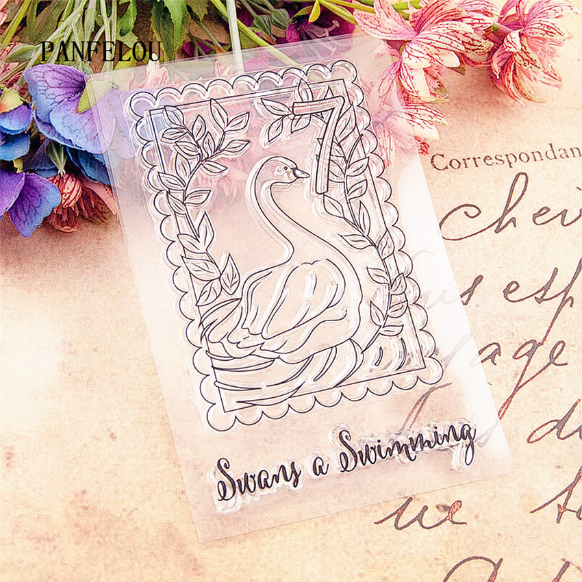 PANFELOU Swan vines stamps Transparent Silicone Rubber Clear Stamps cartoon for Scrapbooking/DIY Christmas wedding album