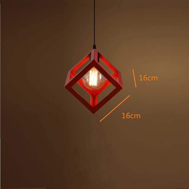 Vintage Pendant Lights Red Shade Fixture Wrought Iron Lighting Kitchen Island Bar Office Hotel Antique Mini Pendant Ceiling Lamp