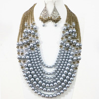 Fresh Sliver Gray 7 Rows Elegant Necklace Earrings Round Shell Pearl Crystal Beads Unique Diy Jewelry