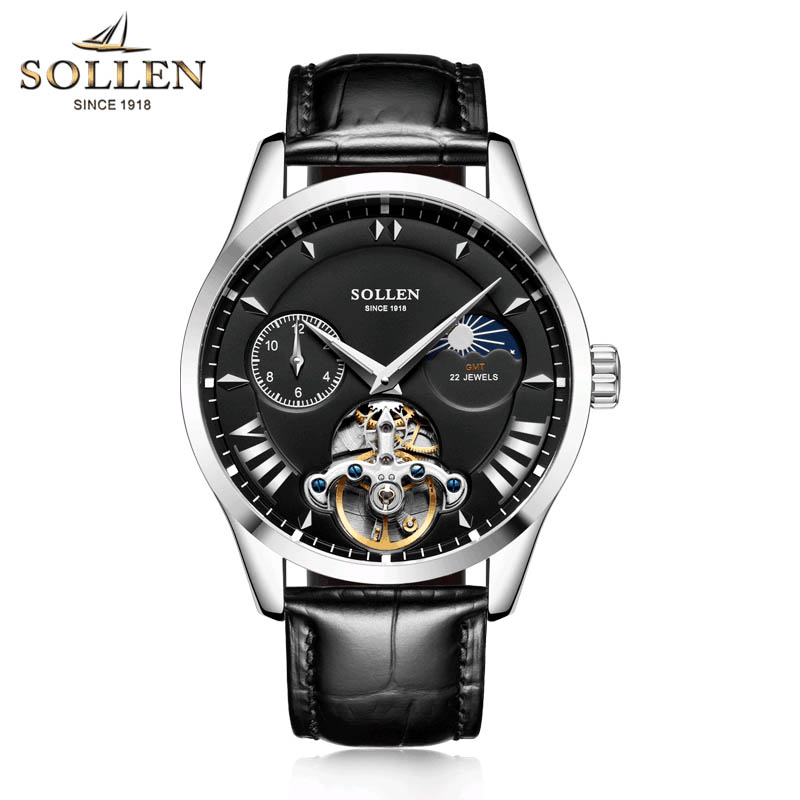 SOLLEN Luxury Brand Self Wind Silver Relogio Black Leather Band Analog Male Casual Clock Wrist Men Automatic Mechanical Watch original binger mans automatic mechanical wrist watch date display watch self wind steel with gold wheel watches new luxury