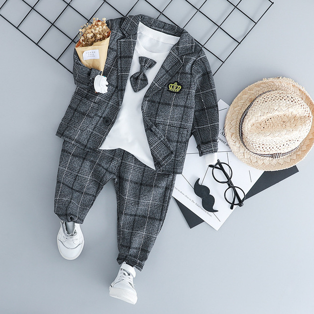WENWENDEXINGFU Baby Boy Clothing Sets Male Children Clothes Suits Kid Gentleman Style Coats T Shirt Pants Grid Infant Clothes
