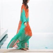 Fashion Long  Cover Up Summer Hawaiian sunflower Print Tunic Hem Tops Beachwear floral print fringe hem cover up