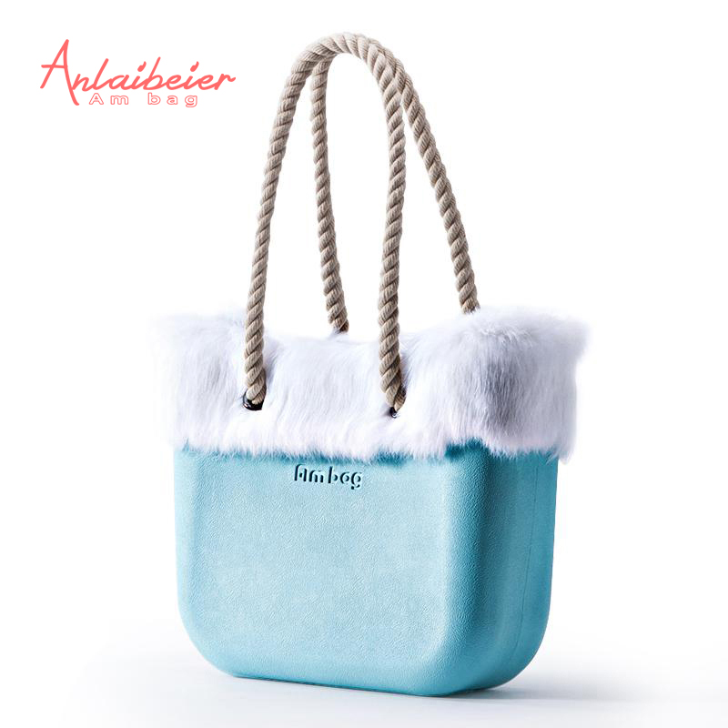 ANLAIBEIER EVA bag Obag Style Classic Mini AMbag with Rabbit Fur Trim waterproof insert inner pocket handles Women handbag many colours mini mid size 30cm x 10cm x 28cm o bag obag style ambag body women s fashion eva handbag