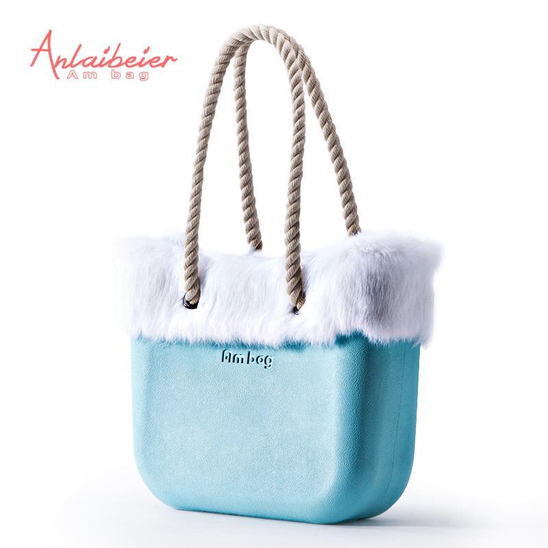 Anlaibeier Ева мешок obag Стиль Classic Mini ambag с кроликом Мех животных отделкой Водонепроницаемая вставка внутренний карман ручки Для женщин сумки