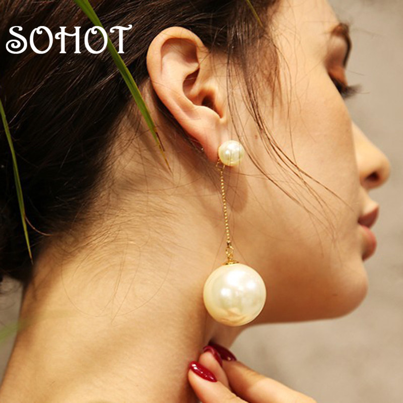 SOHOT Classic Hepburn style Simulated-pearl Drop Earrings High Qulitity Tassel Chain Double Bead OL Women Jewelry For Party Gift