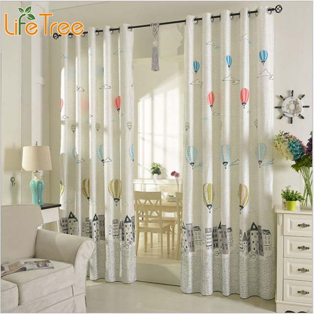 Cartoon Balloon Window Curtains For Kids Room Korean Style Living Room  Curtains Bedroom Drapes Punching And Hook Treatments
