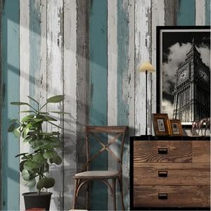 Image 1 - Винтажные деревянные полосатые обои, Современные Простые обои для гостиной, спальни, кабинета, домашний декор, самоклеящиеся водонепроницаемые настенные рулоны наклеек из ПВХ