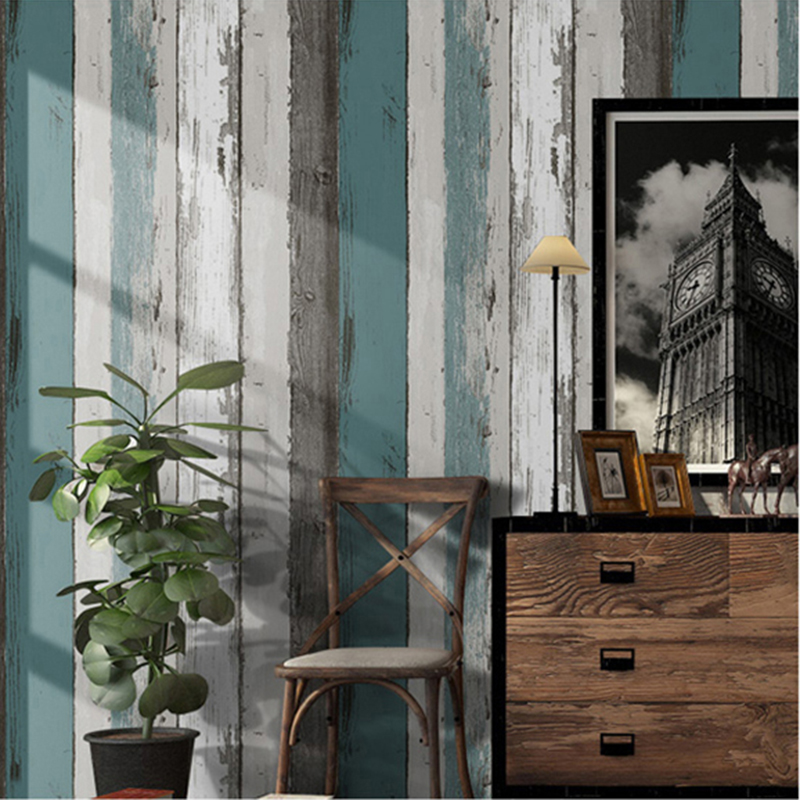 Vintage Wood Stripe Wallpaper Modern Simple Living Room Bedroom Study Home Decor PVC Self-Adhesive Waterproof Wall Sticker Rolls