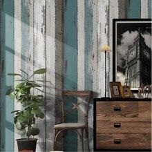 Papel pintado de rayas de madera Vintage moderno Simple sala de estar dormitorio estudio hogar Decoración PVC adhesivo impermeable para pared rollos