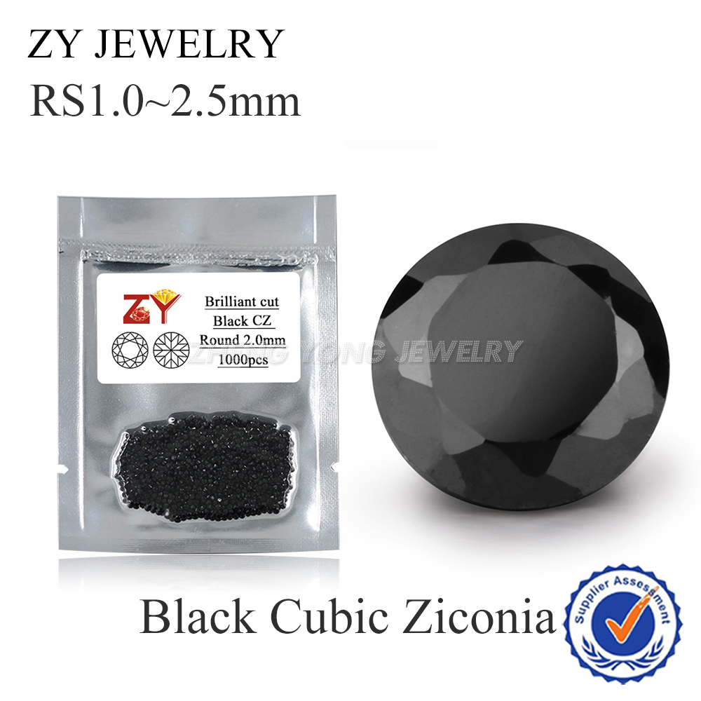 1.0~2.5mm 1000pcs 5A CZ Stone Black Round Cut Cubic Zirconia Loose Stone Synthetic Gems For Sale