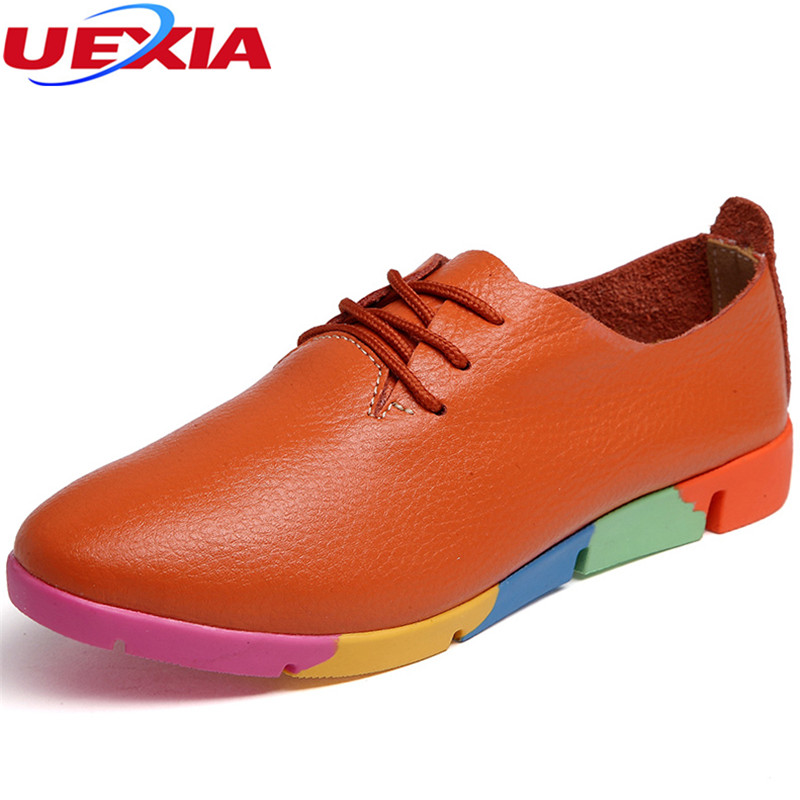 UEXIA 2018 Leather Oxford Flats Shoes For Women New Slip-on College Casual Fashion Ladies Lazy Loafers Female Ladies Moccasins uexia women winter warm fur plush loafers fashion round toe slip on ladies casual flats shoes women s bow tie ladies footwear