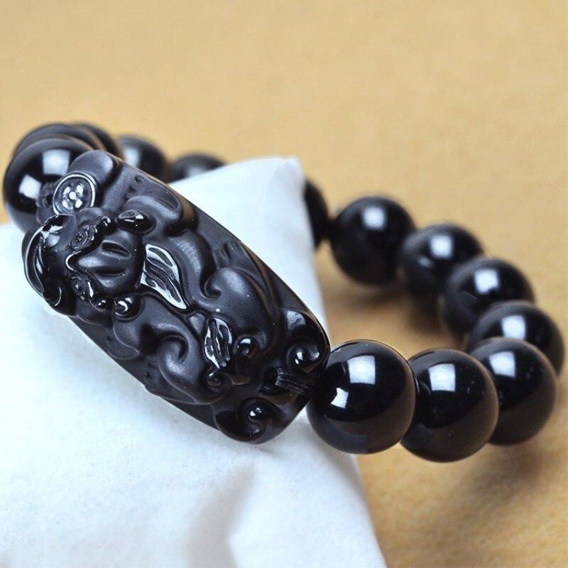 100% Natural Black Obsidian Stone Bracelets Pixiu Bracelets Round Beads Bracelets Bangles Men's Jade Jewelry