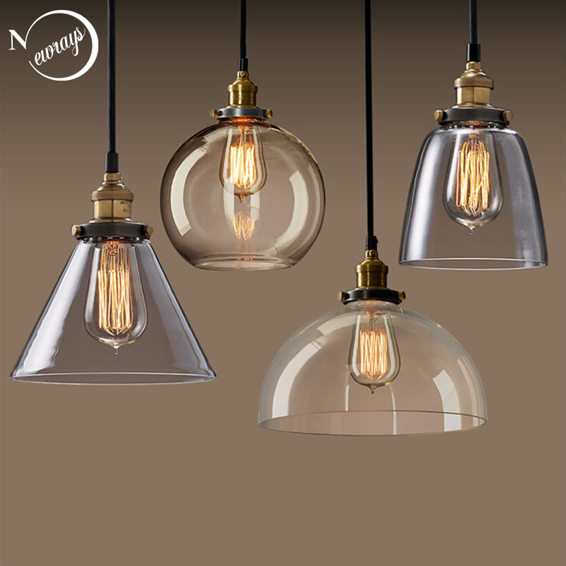 Modern loft industrial clear/amber color glass pendant light LED E27 with 4 styles for restaurant/living room/cafe/kitchen/bar modern round glass pendant light grey color clear color amber color pendant lamps with bulbs 110v 220v led pendant lights