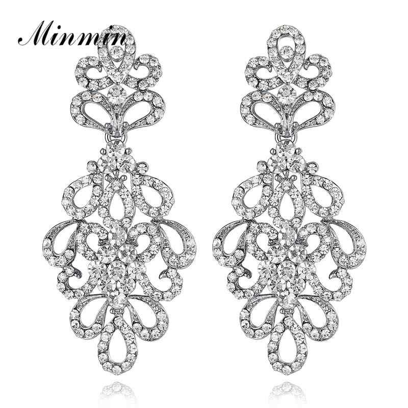 Minmin lujo cristalino nupcial pendientes largos para las mujeres floral plata / oro color de la boda gota cuelga los pendientes joyería de moda EH177