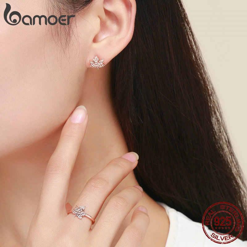 BAMOER véritable 925 en argent Sterling feuilles d'érable feuille anneau clair CZ boucles d'oreilles femme ensemble de bijoux en argent 925 bijoux ZHS077