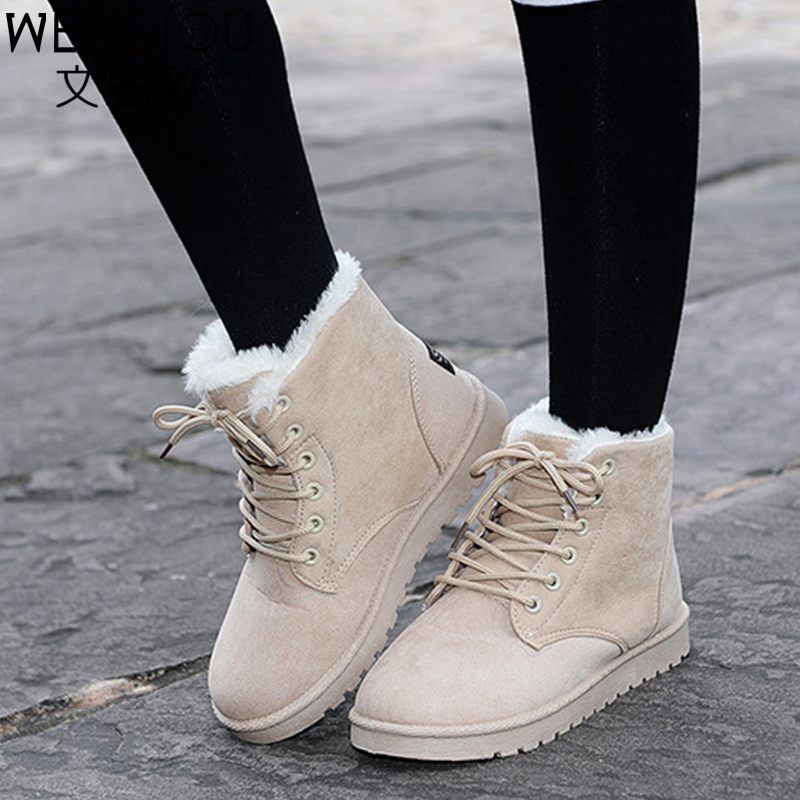 Winter women snow boots fashion Footwear 2016 solid color female ankle boots for women shoes warm comfortable botas mujer ST903