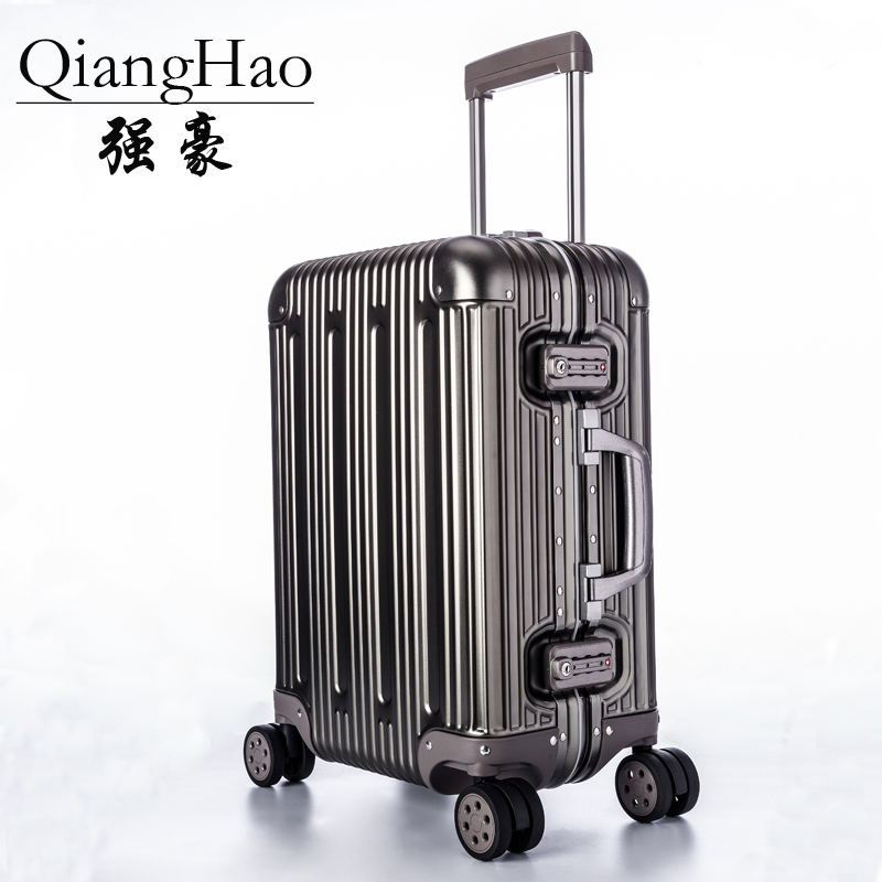 d12a43da7 Designer 100% Aluminum Magnesium Alloy Trolley Suitcases Men Fashion Metal  Rolling Luggage Women Travel Case Silver Hot