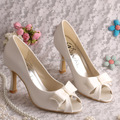 Wedopus Autumn High Heel Pumps Women's Elegant Wedding Shoes Off-white Peep Toe