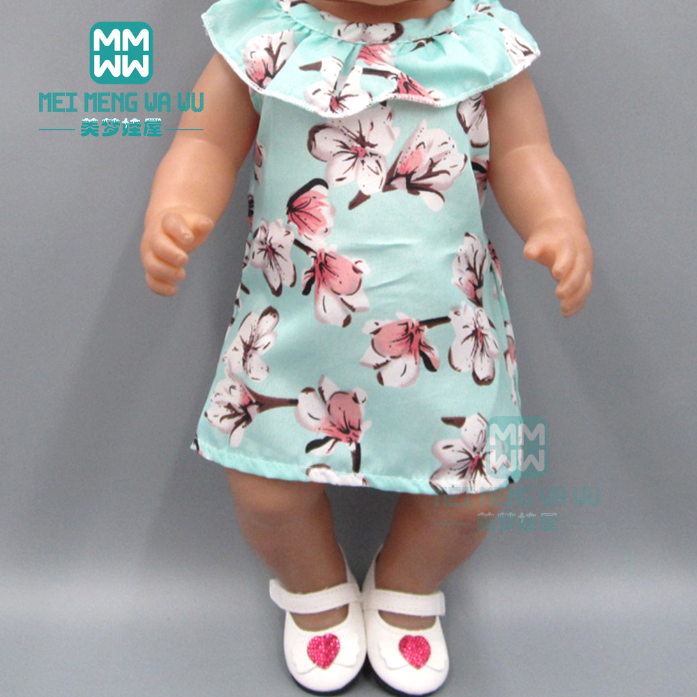 Doll Clothes For 43cm Toy New Born Doll Accessories Fashion Blue Print Dress + Baby Headwear