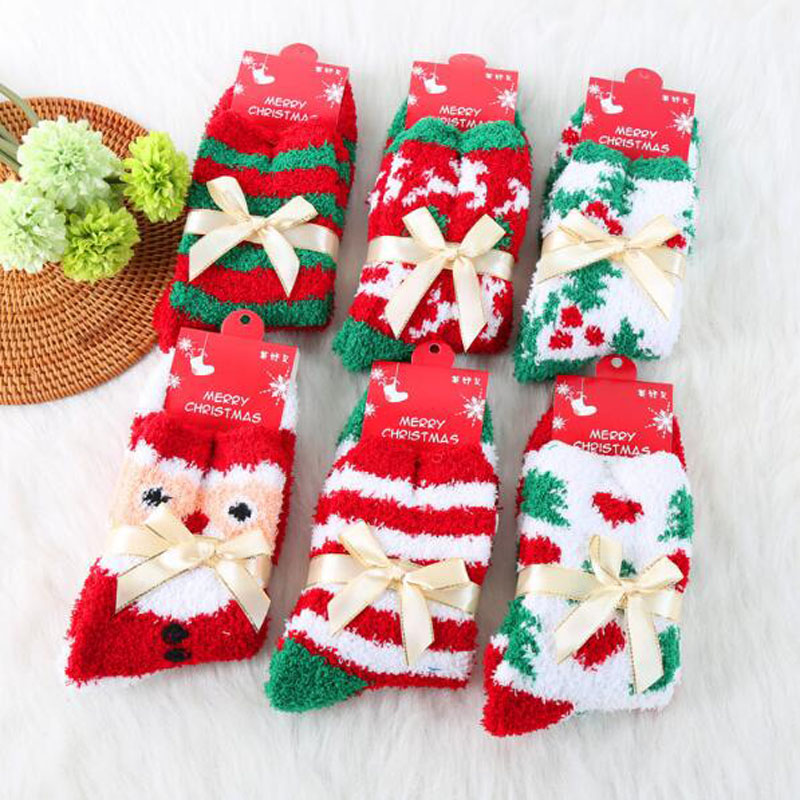 Rihschpiece Winter Warm Christmas Socks Women Cute Harajuku Thick Fuzzy Sock Kawaii Art Cotton Casual Las Rzf610 In From S
