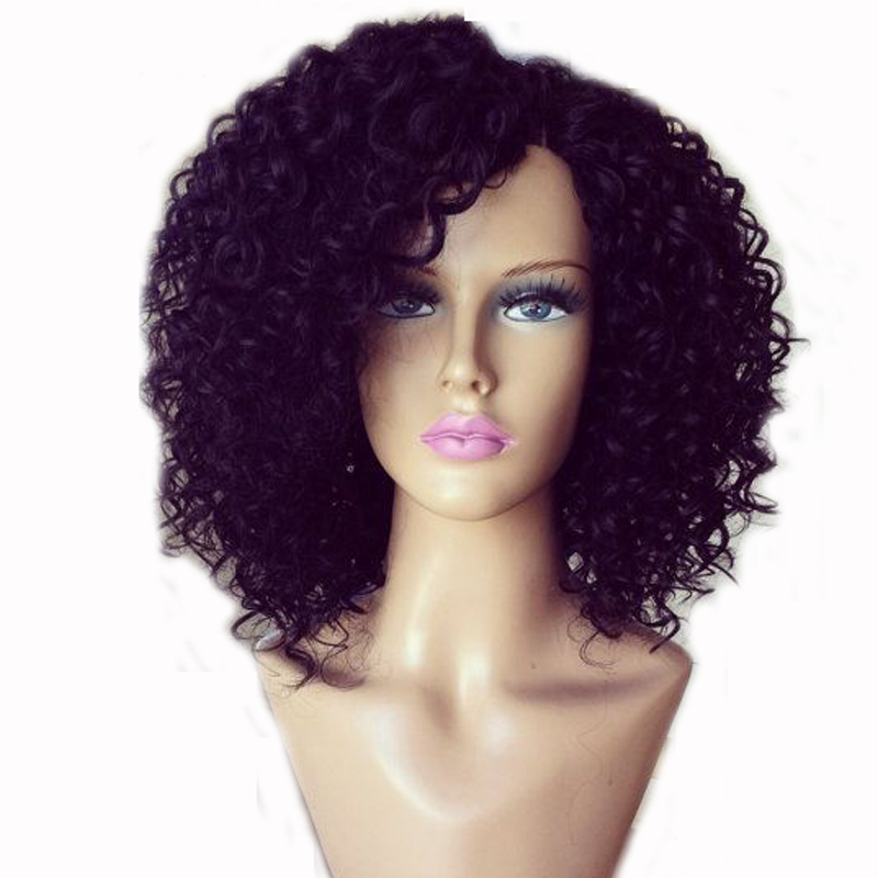LUFFYHAIR Mongolian Kinky Curly Lace Front Wig Left Side Part 180% Density Remy Human Hair Glueless Lace Front Wigs For Women