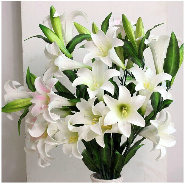 High Quality Artificial Flowers Single Simulation Lily White Plastic