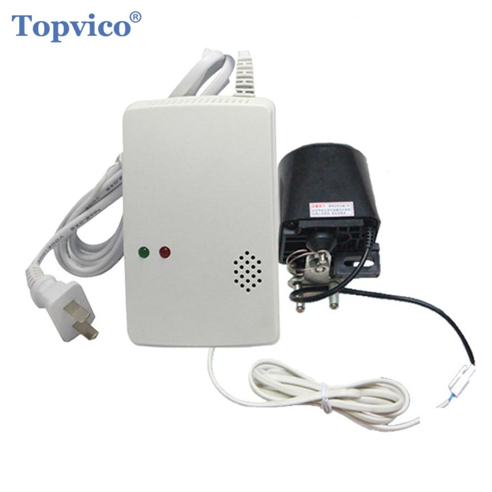 Topvico Gas Detector Alarm Sensor + Shutoff Valve 433mhz Wireless Liquefied Natural Coal Gas Detector Home Security Alarm System diyseucr qg 02 wireless gas sensor for our related home alarm home security system 433mhz gas detector
