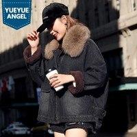 Зимние Повседневное свободные Fox меховой воротник плотного хлопкового денима пальто Для женщин уличная розовый Теплый Однобортный джинсов