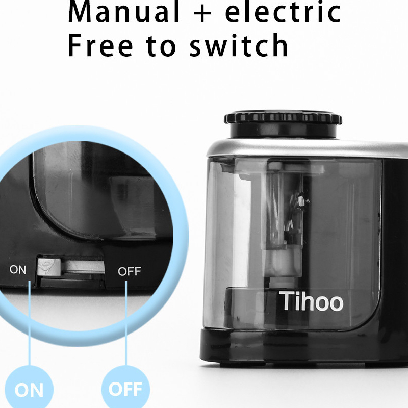 TEN-WIN electric switch black pencil sharpener one hole for 6-8mm
