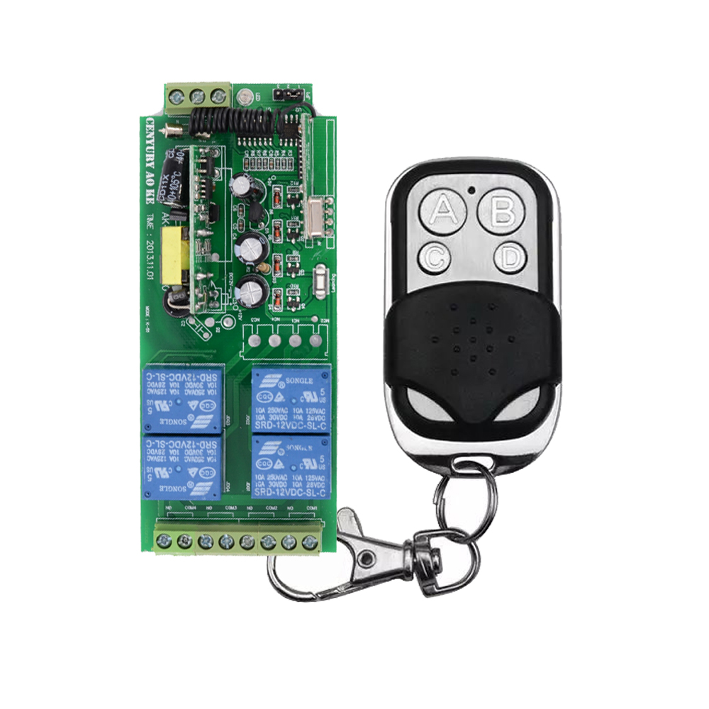 AC 85V~250V 110V 220V RF 4 CH Wide Voltage Wireless Remote Control Switch System  Receiver Transmitter ac 85v 110v 220v 250v rf 1 ch wide voltage wireless remote control switch system receiver