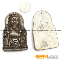 Pyrite Pendant 28x57mm Guan Gong Carved Gray Pyrite Beads Natural Pyrite Stone Beads For Pendant Making