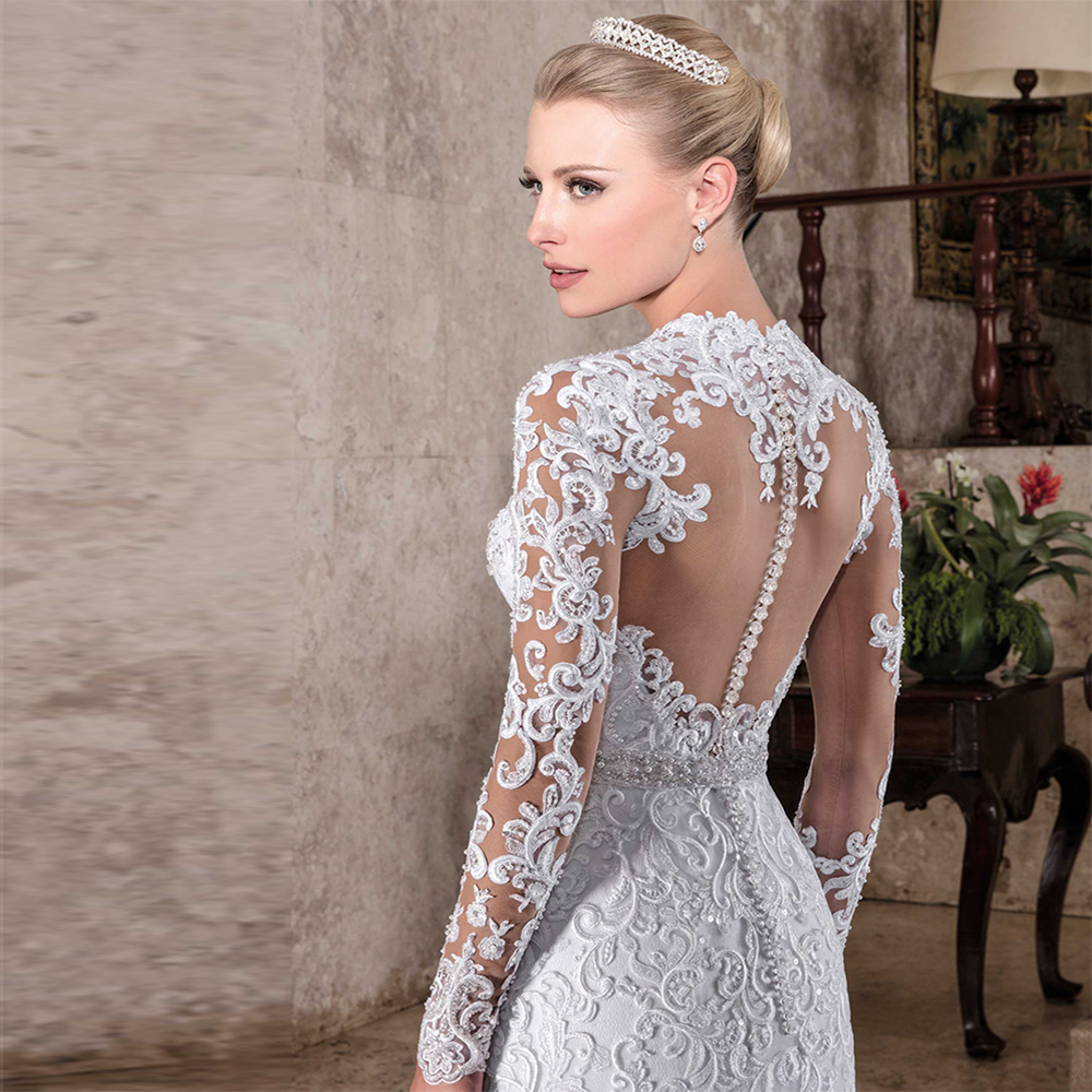 Hot sale sexy lace mermaid full sleeves wedding dress 2017 for Mermaid wedding dresses on sale
