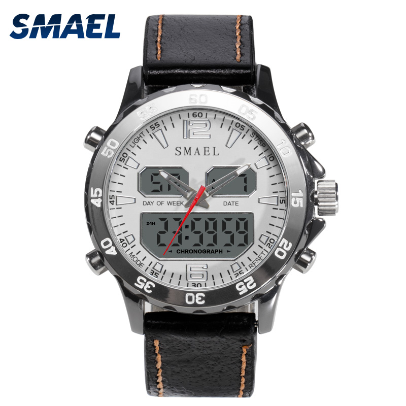 SMAEL Brand Watch Dual Time Wristwatch Waterproof LED Digital  Watches Men Quartz Clock 1281 relogio masculino Best Gift bewell natural wood watch men quartz watches dual time zone wooden wristwatch rectangle dial relogio led digital watch box 021c
