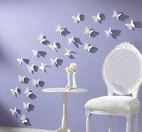 20pcs/lot 3D 5*5cm vivid Butterfly Wall Sticker Decor Pop-up Sticker wedding Home Room Art Decorations small size